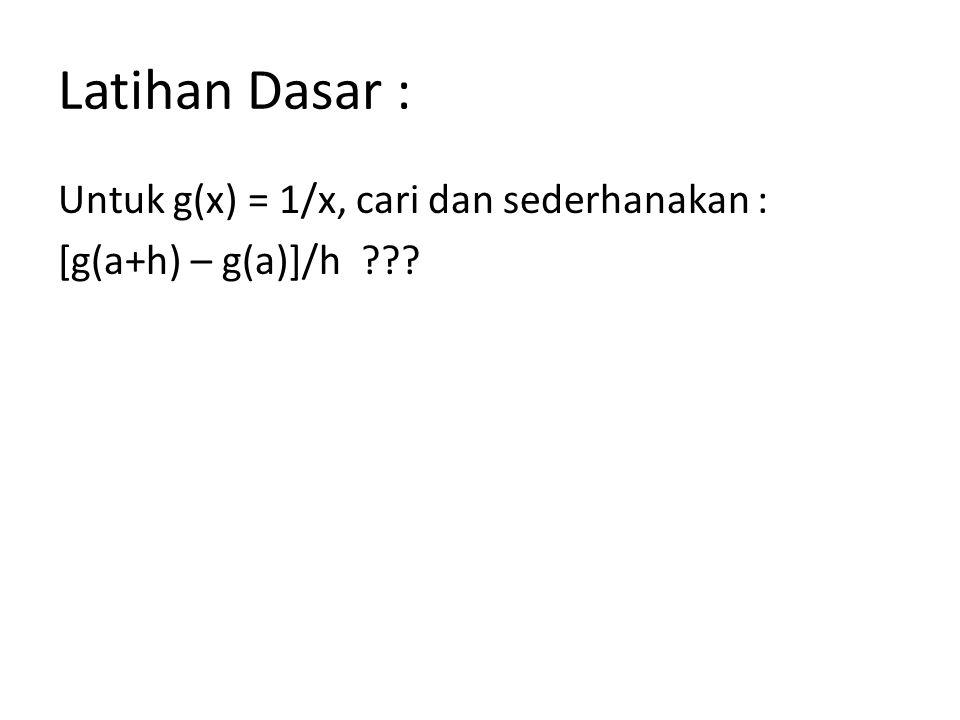 Latihan Dasar : Untuk g(x) = 1/x, cari dan sederhanakan : [g(a+h) – g(a)]/h